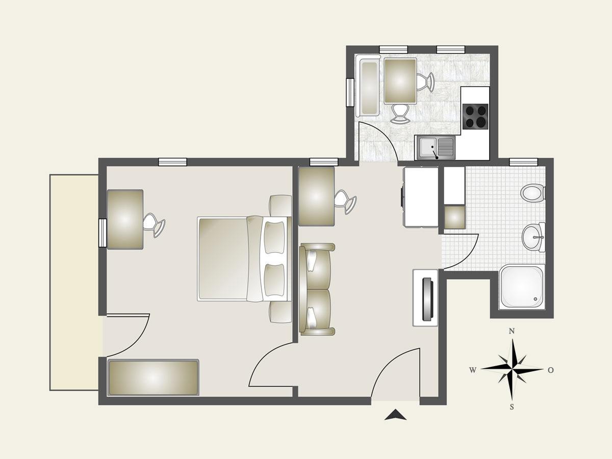 Appartamento vista castello agriturismo alto adige val for Pianta da salotto